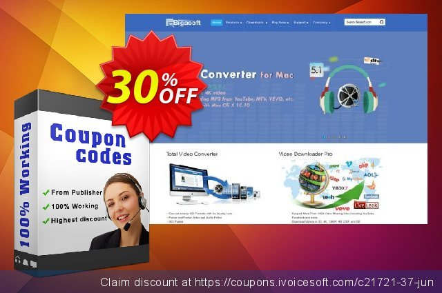 Bigasoft Audio Converter for Mac discount 30% OFF, 2019 New Year's eve offering sales