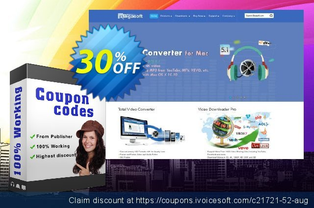 Bigasoft iPhone Video Converter for Mac discount 30% OFF, 2020 Happy New Year offering sales