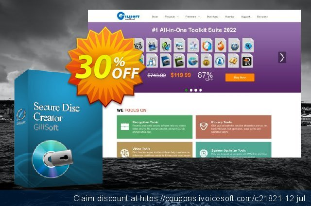 GiliSoft Secure Disc Creator Lifetime discount 30% OFF, 2019 Christmas & New Year offering sales