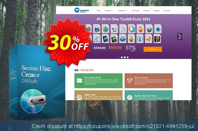 Gilisoft Secure Disc Creator - 3 PC / Lifetime discount 30% OFF, 2019 Thanksgiving Day promo sales