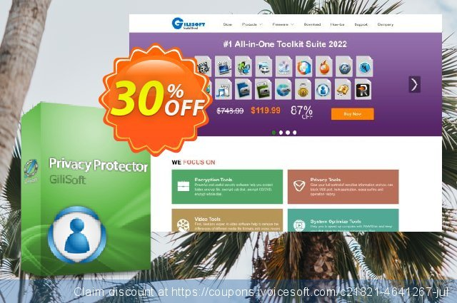 Gilisoft Privacy Protector  - 3 PC / Lifetime discount 30% OFF, 2019 Thanksgiving offering sales