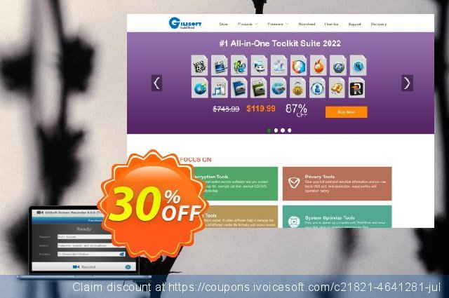 Gilisoft Screen Recorder - 3 PC / Lifetime discount 30% OFF, 2020 Fourth of July offering deals