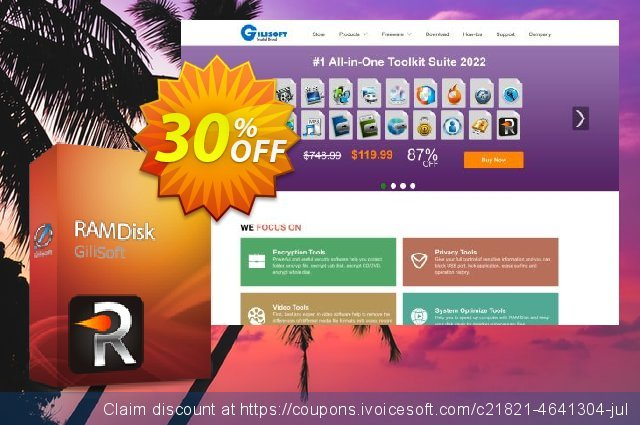 Gilisoft RAMDisk - 3 PC / Lifetime discount 30% OFF, 2019 Thanksgiving Day offering sales