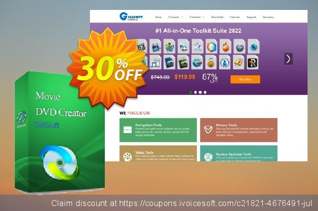 GiliSoft Movie DVD Creator discount 30% OFF, 2020 Fourth of July offering sales
