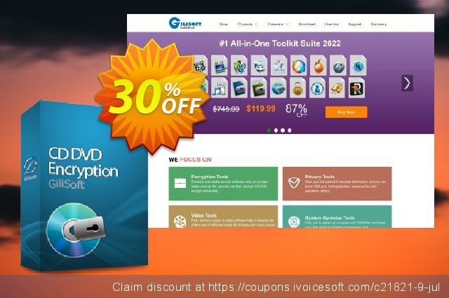 GiliSoft CD DVD Encryption discount 30% OFF, 2020 College Student deals offering sales