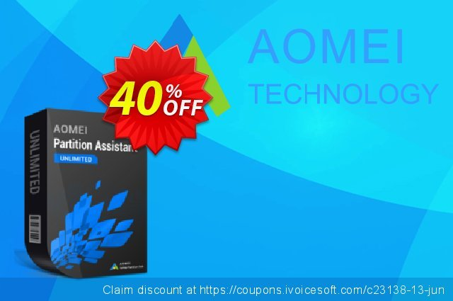 AOMEI Partition Assistant Unlimited + Lifetime Upgrade discount 38% OFF, 2021 Mother's Day offering sales. 38% OFF AOMEI Partition Assistant Unlimited + Lifetime Upgrade, verified