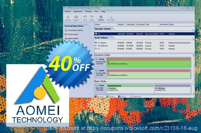 AOMEI Dynamic Disk Manager Server Screenshot