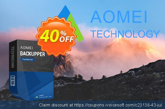 AOMEI Backupper Technician + Lifetime Upgrades discount 30% OFF, 2021 Daylight Saving offering sales