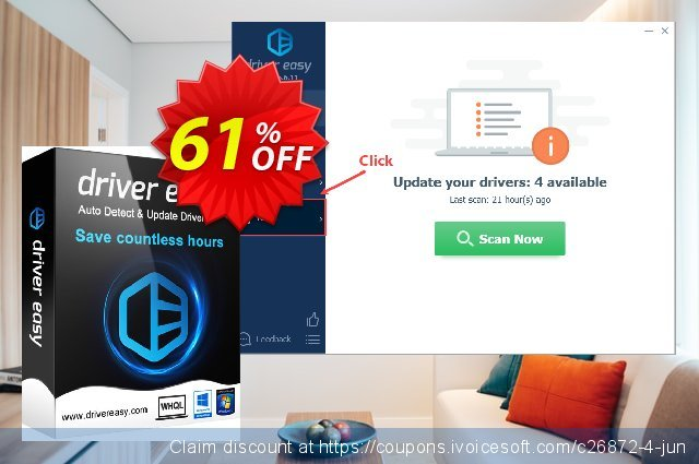 DriverEasy - 3 PC's / 1 Year discount banner 65% OFF, October
