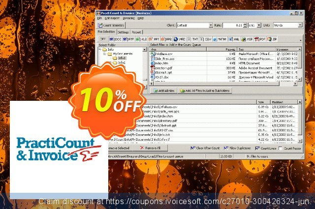 PractiCount and Invoice (Standard Edition - World License) discount 10% OFF, 2021 Happy New Year discount