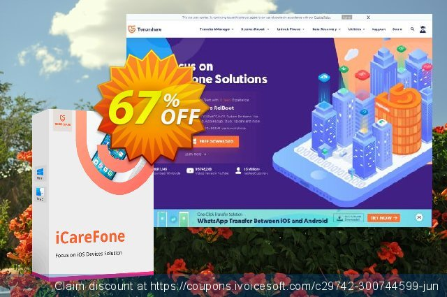 Tenorshare iCareFone for Mac (Unlimited License) discount 67% OFF, 2020 Exclusive Student discount offer