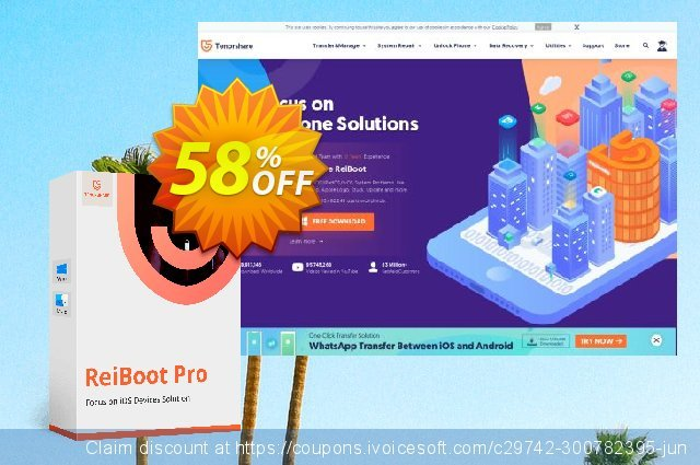 Tenorshare ReiBoot Pro for Mac (Unlimited LIcense) discount 58% OFF, 2020 Back to School coupons promo sales
