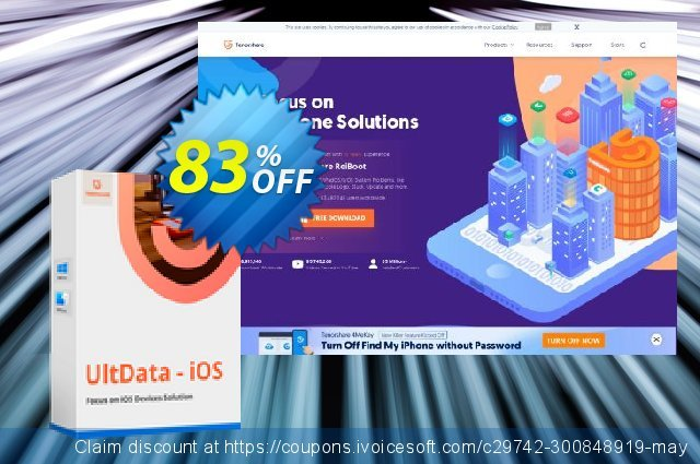 Tenorshare Ultdata for iOS/Mac (6-10 Devices) discount 83% OFF, 2020 Halloween offering sales