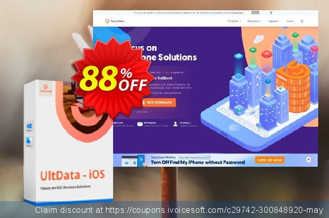 Tenorshare Ultdata for iOS/Mac (11-15 Devices) discount 88% OFF, 2020 Back to School deals offering sales