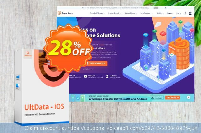 Tenorshare Ultdata for iOS/Mac (1 Month License) discount 28% OFF, 2020 Halloween sales