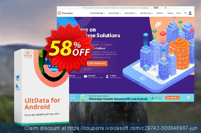 Tenorshare UltData for Android (1 Month License) discount 58% OFF, 2020 Back to School season offering discount