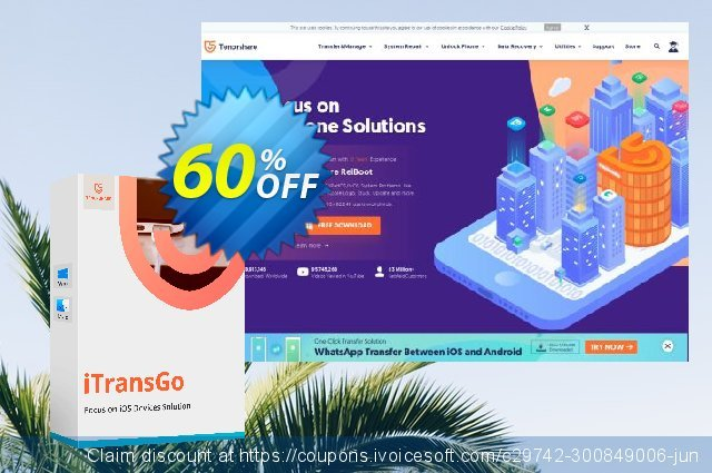 Tenorshare iTransGo (1 Month License) discount 60% OFF, 2020 Back to School offer offering discount