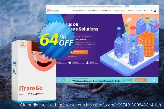 Tenorshare iTransGo for Mac (1 Month) discount 64% OFF, 2020 University Student deals offering sales