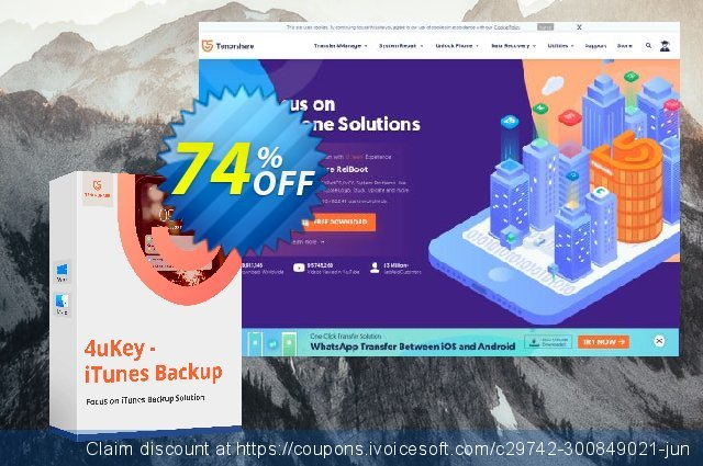 Tenorshare 4uKey - iTunes Backup - Lifetime discount 74% OFF, 2020 Happy New Year offering sales