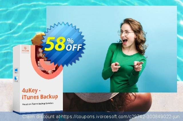 Tenorshare 4uKey iTunes Backup (1 month License) discount 58% OFF, 2020 Back to School promo deals