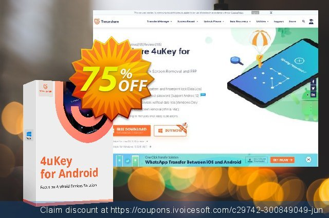 Tenorshare 4uKey for Android - (6-10 Devices) discount 82% OFF, 2020 Happy New Year deals
