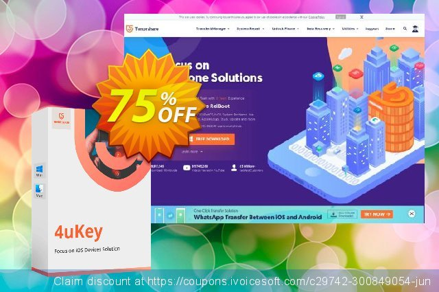 Tenorshare 4uKey - (6-10 Devices) discount 84% OFF, 2019 End year discounts