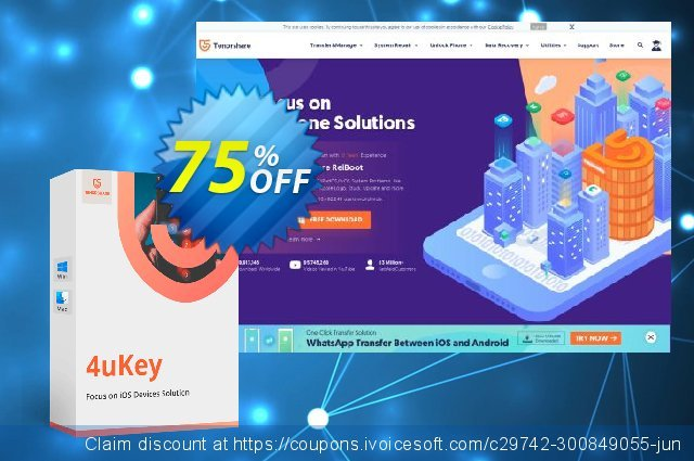 Tenorshare 4uKey  (11-15 Devices) discount 88% OFF, 2020 University Student offer offering sales