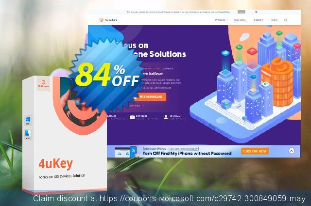 Tenorshare 4uKey for Mac (6-10 Devices) discount 84% OFF, 2021 Spring offering sales