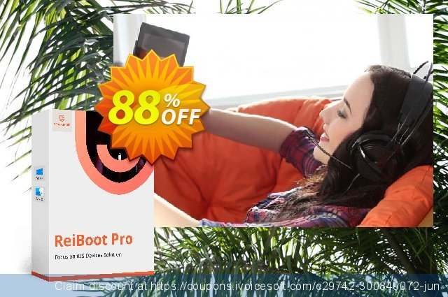 Tenorshare ReiBoot Pro for Mac (11-15 Devices) discount 88% OFF, 2020 Exclusive Student deals offering sales