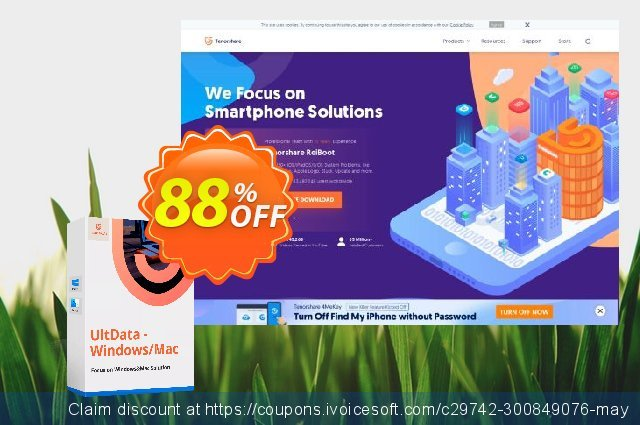 Tenorshare UltData - Windows Data Recovery (6-10 PCs) discount 88% OFF, 2020 January offering sales
