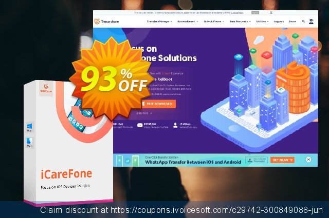 Get 93% OFF Tenorshare iCareFone - (6-10 PCs) offering sales