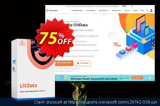 Tenorshare Ultdata for iOS/Mac(1 Year License) discount 75% OFF, 2020 Fourth of July promo sales