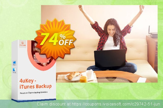 Tenorshare 4uKey iPhone Backup Unlock discount 74% OFF, 2020 Back to School season offering sales