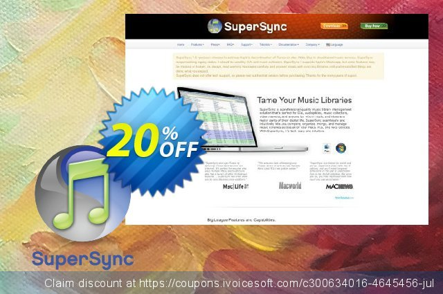 SuperSync iTunes Library Manager discount 20% OFF, 2021 New Year's Day offering sales