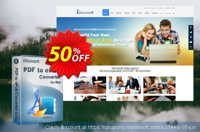 iStonsoft PDF to ePub Converter for Mac discount 50% OFF, 2020 April Fools' Day offering sales