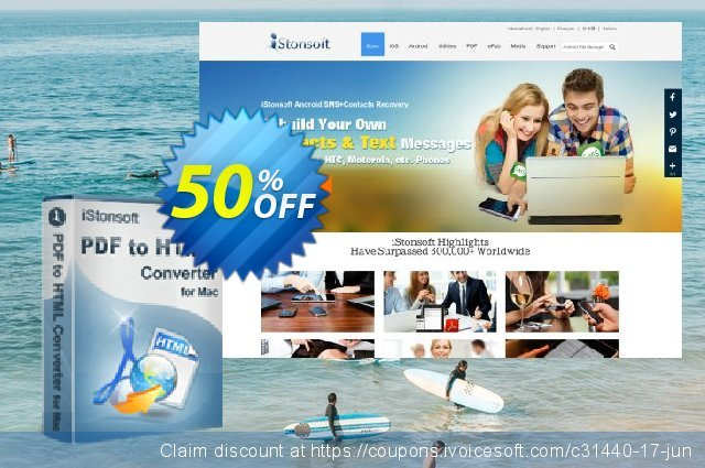 iStonsoft PDF to HTML Converter for Mac discount 50% OFF, 2020 New Year's Day offering sales