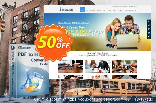 iStonsoft PDF to HTML Converter for Mac discount 50% OFF, 2020 Student deals discounts