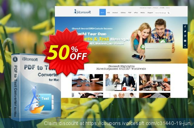 iStonsoft PDF to Text Converter for Mac discount 50% OFF, 2020 January offering sales