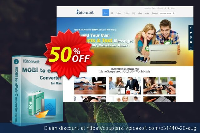 iStonsoft MOBI to ePub Converter for Mac discount 50% OFF, 2019 University Student offer deals