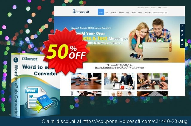 iStonsoft Word to ePub Converter discount 50% OFF, 2019 Christmas & New Year promo