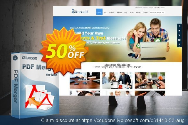 iStonsoft PDF Merger for Mac discount 50% OFF, 2021 Magic Day discounts. 60% off