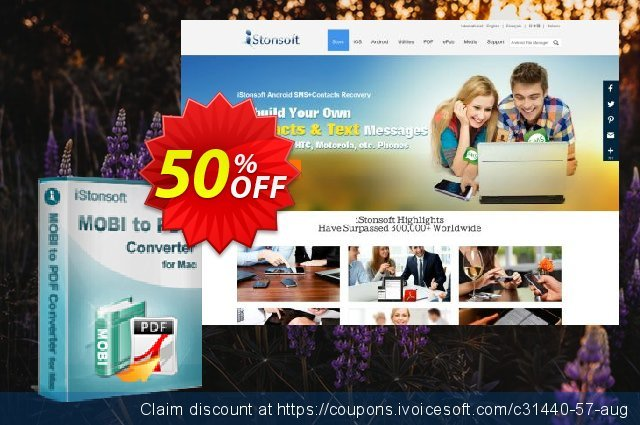 iStonsoft MOBI to PDF Converter for Mac discount 50% OFF, 2019 Back to School season sales