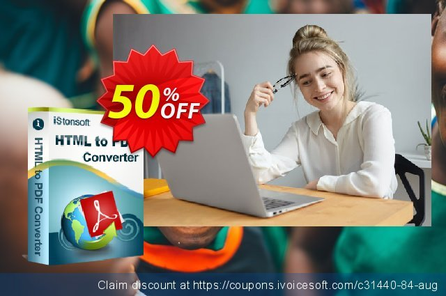 iStonsoft HTML to PDF Converter discount 50% OFF, 2020 July 4th promo sales