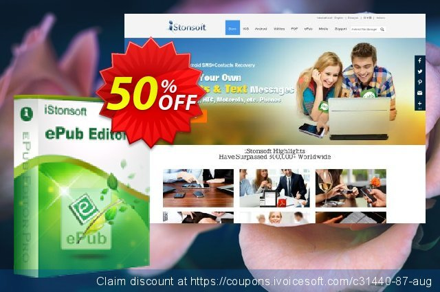 iStonsoft ePub Editor Pro discount 50% OFF, 2020 College Student deals offering sales