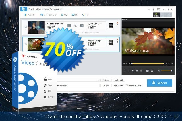 Get 50% OFF AnyMP4 Video Converter Lifetime offer