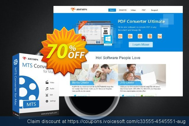 AnyMP4 MTS Converter for Mac Lifetime discount 50% OFF, 2021 New Year offering sales