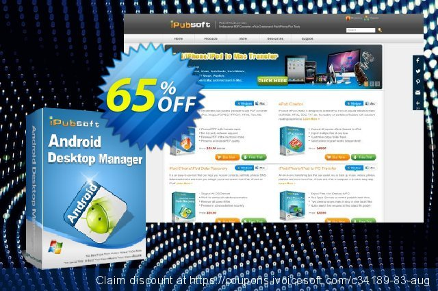 [65% OFF] iPubsoft Android Desktop Manager Coupon code on Back-to-School  promotions offering sales, September 2019