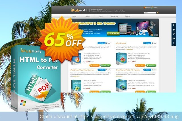 iPubsoft HTML to PDF Converter discount 65% OFF, 2019 Summer promotions