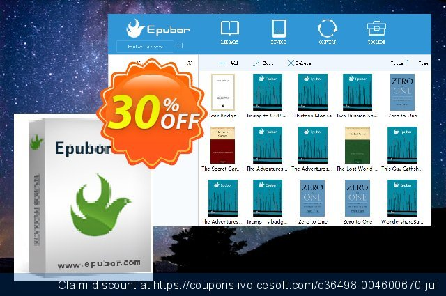 Epubor for Mac Family License discount 30% OFF, 2021 January offering sales