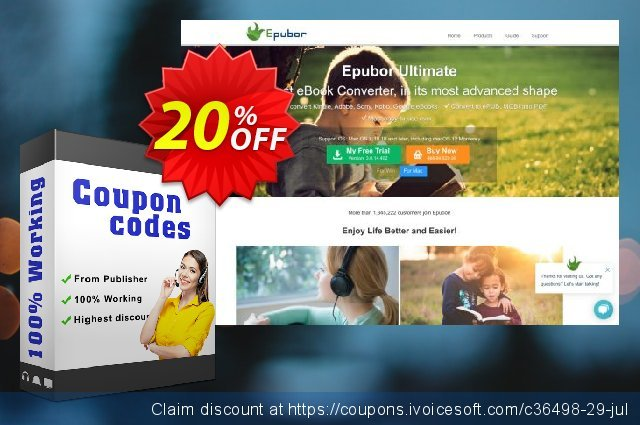 Epubor Ultimate for Mac Family License discount 20% OFF, 2020 College Student deals offering sales